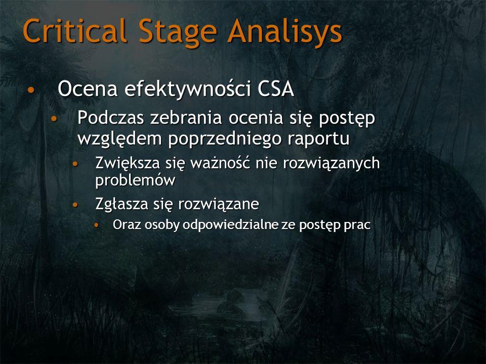Critical Stage Analisys Ocena efektywności CSAOcena efektywności CSA Podczas zebrania ocenia się postęp względem poprzedniego raportuPodczas zebrania