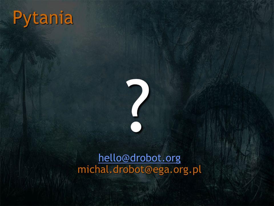 Pytania ? hello@drobot.org hello@drobot.org michal.drobot@ega.org.pl hello@drobot.org