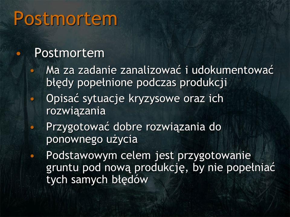 Postmortem PostmortemPostmortem Ma za zadanie zanalizować i udokumentować błędy popełnione podczas produkcjiMa za zadanie zanalizować i udokumentować