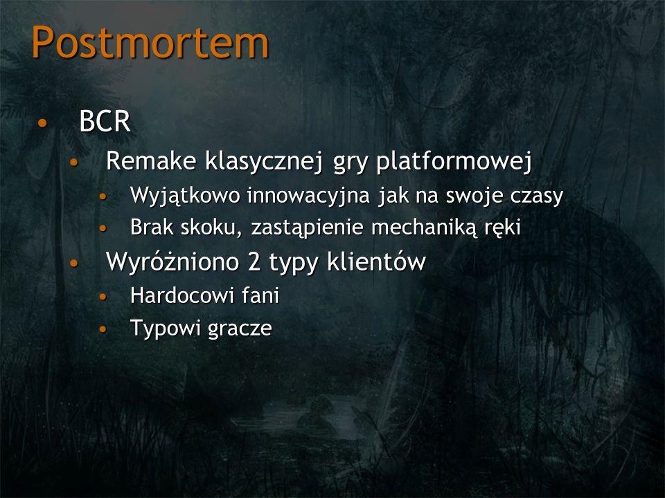Postmortem BCRBCR Remake klasycznej gry platformowejRemake klasycznej gry platformowej Wyjątkowo innowacyjna jak na swoje czasyWyjątkowo innowacyjna j