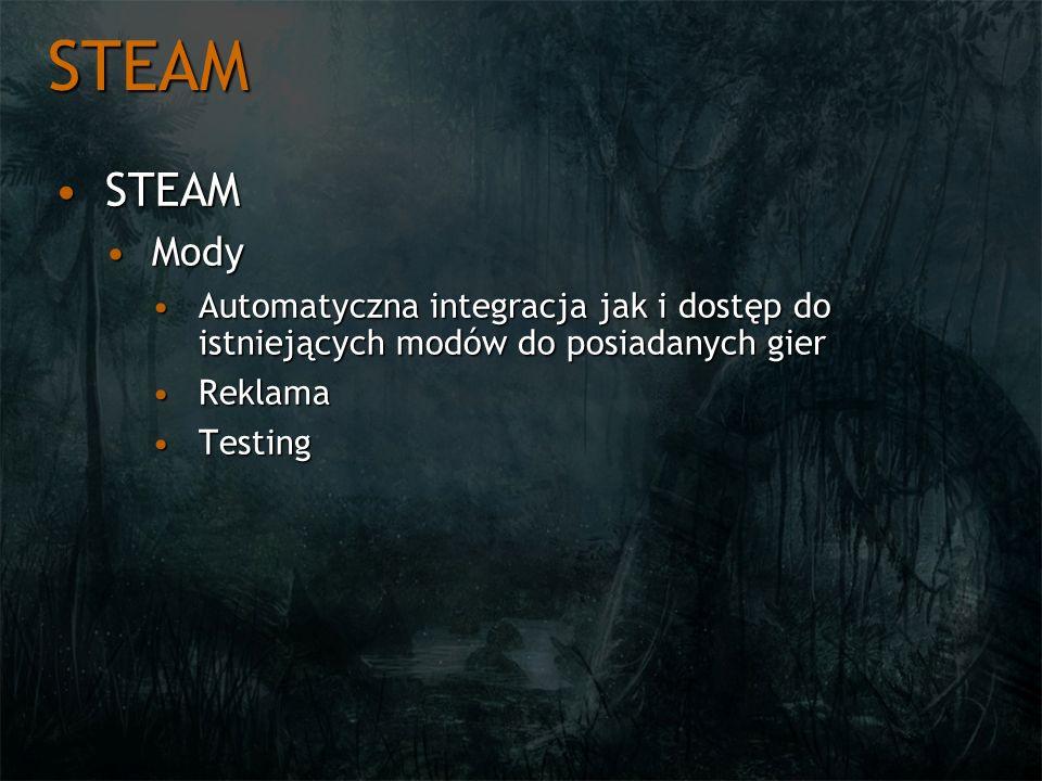 STEAM STEAMSTEAM ModyMody Automatyczna integracja jak i dostęp do istniejących modów do posiadanych gierAutomatyczna integracja jak i dostęp do istnie