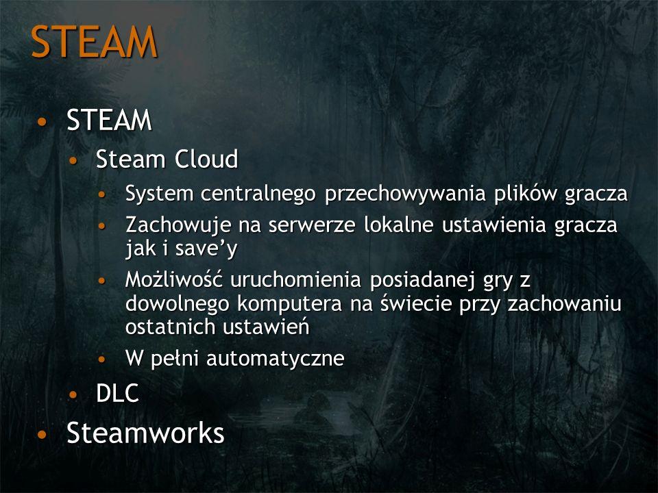 STEAM STEAMSTEAM Steam CloudSteam Cloud System centralnego przechowywania plików graczaSystem centralnego przechowywania plików gracza Zachowuje na se