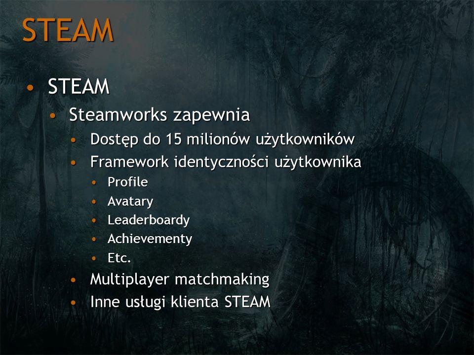STEAM STEAMSTEAM Steamworks zapewniaSteamworks zapewnia Dostęp do 15 milionów użytkownikówDostęp do 15 milionów użytkowników Framework identyczności u