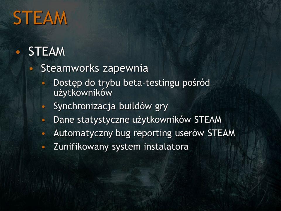 STEAM STEAMSTEAM Steamworks zapewniaSteamworks zapewnia Dostęp do trybu beta-testingu pośród użytkownikówDostęp do trybu beta-testingu pośród użytkown