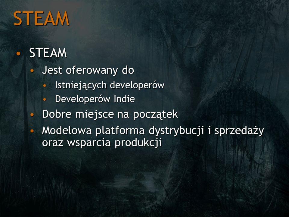 STEAM STEAMSTEAM Jest oferowany doJest oferowany do Istniejących developerówIstniejących developerów Developerów IndieDeveloperów Indie Dobre miejsce
