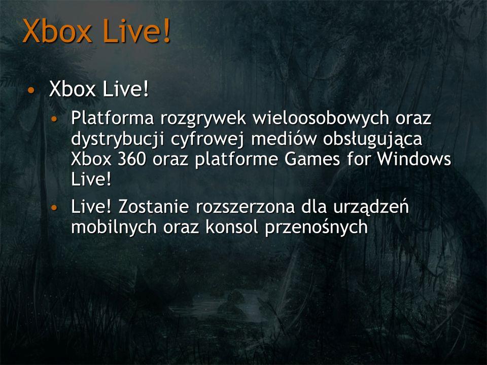 Xbox Live! Xbox Live!Xbox Live! Platforma rozgrywek wieloosobowych oraz dystrybucji cyfrowej mediów obsługująca Xbox 360 oraz platforme Games for Wind