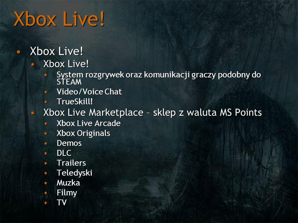 Xbox Live! Xbox Live!Xbox Live! System rozgrywek oraz komunikacji graczy podobny do STEAMSystem rozgrywek oraz komunikacji graczy podobny do STEAM Vid