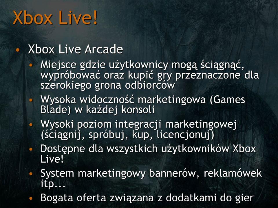 Xbox Live! Xbox Live ArcadeXbox Live Arcade Miejsce gdzie użytkownicy mogą ściągnąć, wypróbować oraz kupić gry przeznaczone dla szerokiego grona odbio