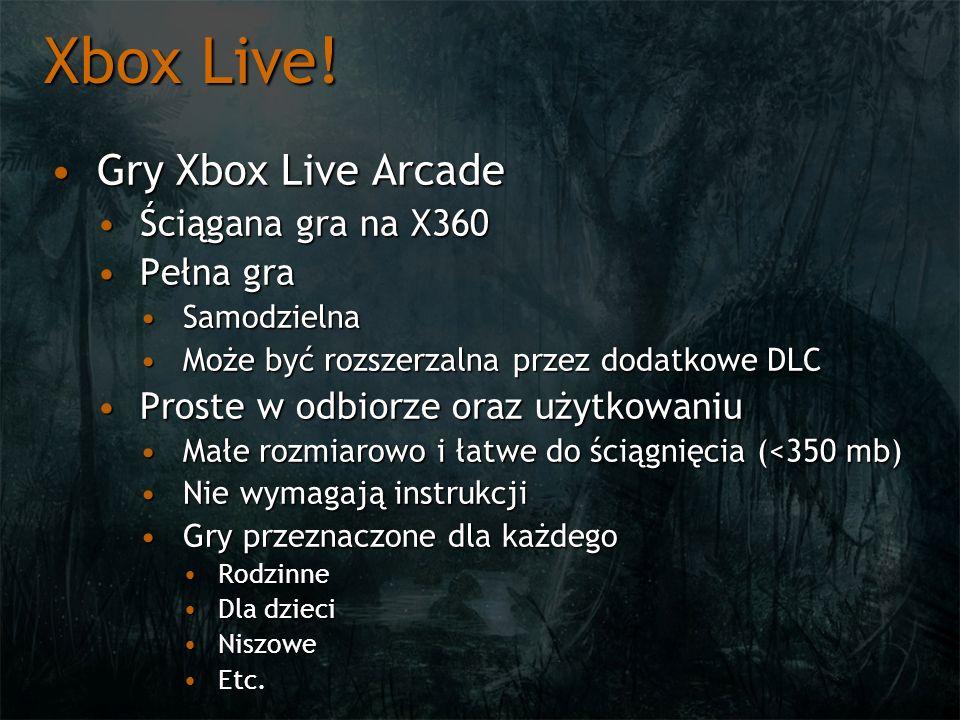Xbox Live! Gry Xbox Live ArcadeGry Xbox Live Arcade Ściągana gra na X360Ściągana gra na X360 Pełna graPełna gra SamodzielnaSamodzielna Może być rozsze