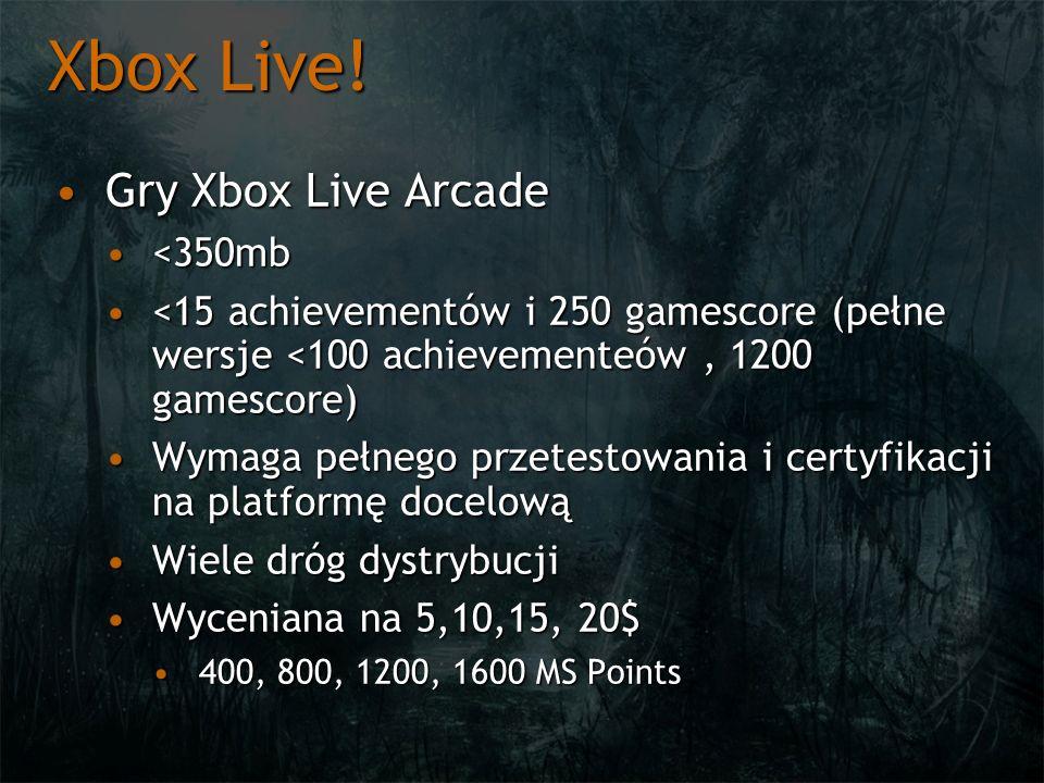 Xbox Live! Gry Xbox Live ArcadeGry Xbox Live Arcade <350mb<350mb <15 achievementów i 250 gamescore (pełne wersje <100 achievementeów, 1200 gamescore)<