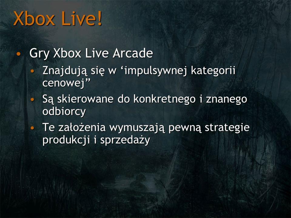 Xbox Live! Gry Xbox Live ArcadeGry Xbox Live Arcade Znajdują się w impulsywnej kategorii cenowejZnajdują się w impulsywnej kategorii cenowej Są skiero