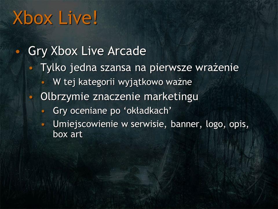 Xbox Live! Gry Xbox Live ArcadeGry Xbox Live Arcade Tylko jedna szansa na pierwsze wrażenieTylko jedna szansa na pierwsze wrażenie W tej kategorii wyj