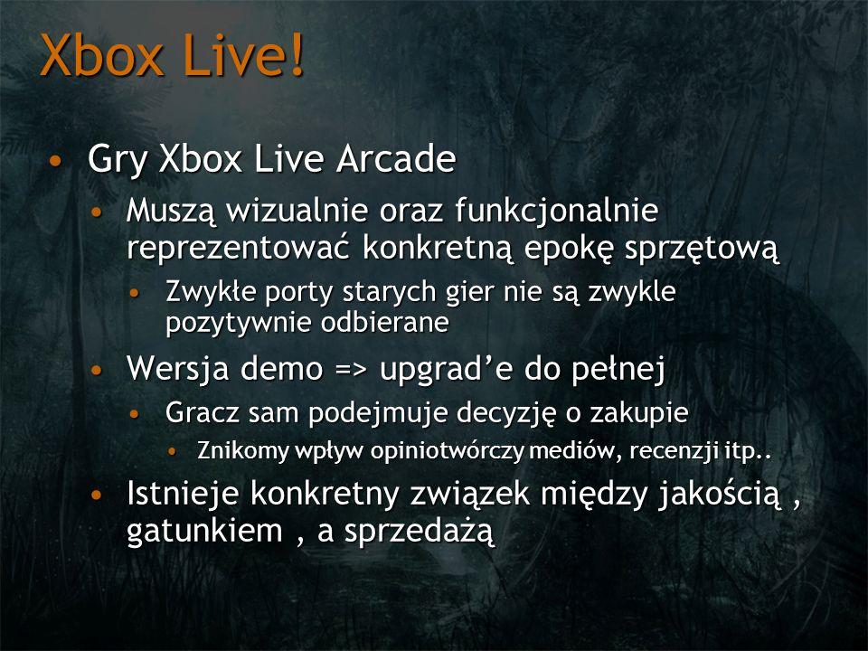 Xbox Live! Gry Xbox Live ArcadeGry Xbox Live Arcade Muszą wizualnie oraz funkcjonalnie reprezentować konkretną epokę sprzętowąMuszą wizualnie oraz fun