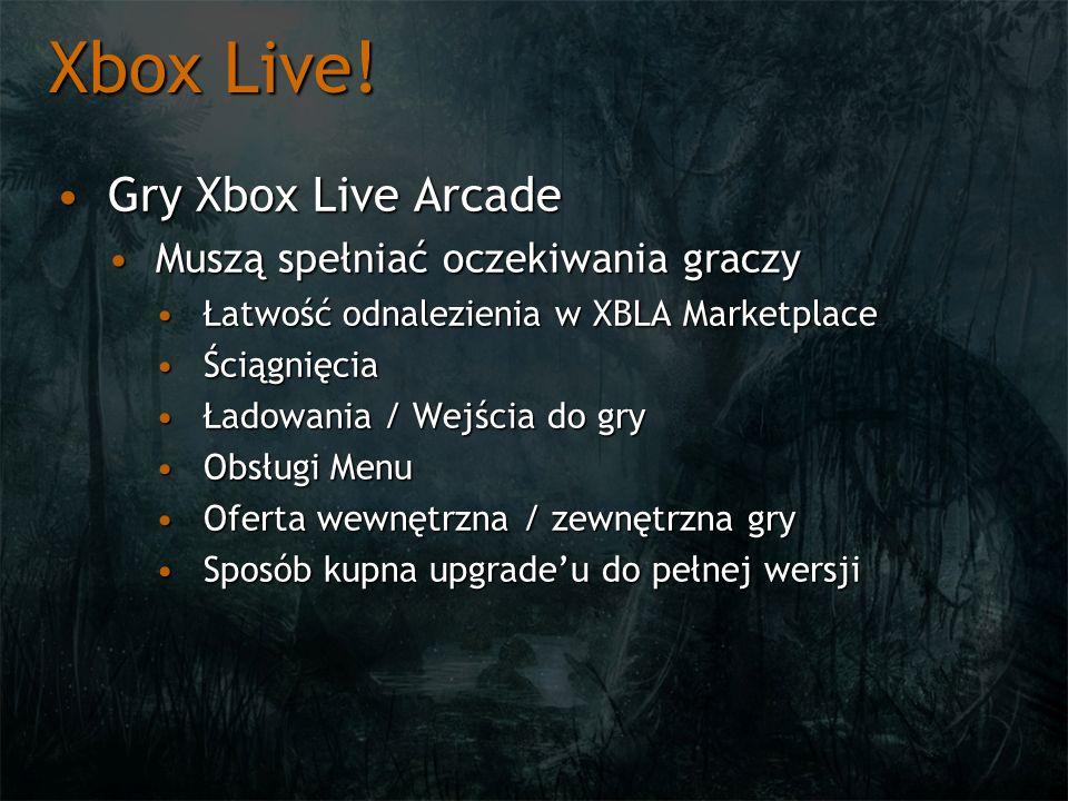 Gry Xbox Live ArcadeGry Xbox Live Arcade Muszą spełniać oczekiwania graczyMuszą spełniać oczekiwania graczy Łatwość odnalezienia w XBLA MarketplaceŁat