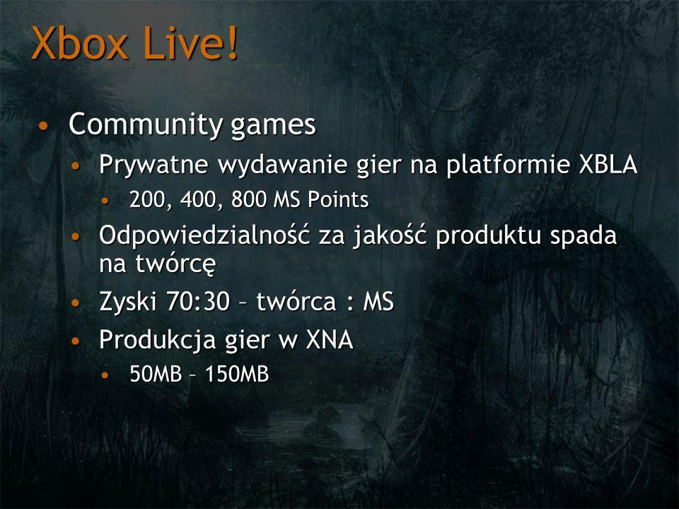 Xbox Live! Community gamesCommunity games Prywatne wydawanie gier na platformie XBLAPrywatne wydawanie gier na platformie XBLA 200, 400, 800 MS Points