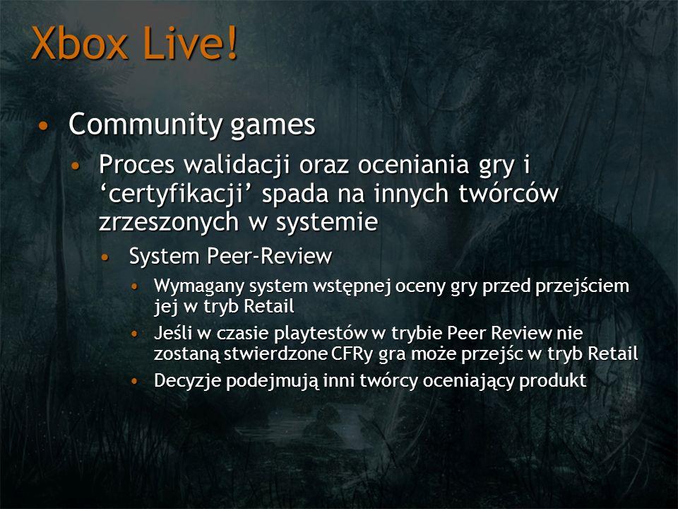 Xbox Live! Community gamesCommunity games Proces walidacji oraz oceniania gry i certyfikacji spada na innych twórców zrzeszonych w systemieProces wali