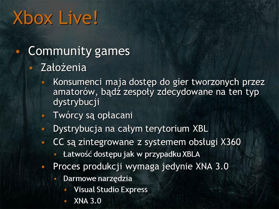 Xbox Live! Community gamesCommunity games ZałożeniaZałożenia Konsumenci maja dostęp do gier tworzonych przez amatorów, bądź zespoły zdecydowane na ten