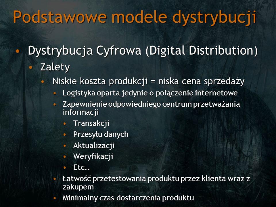 Podstawowe modele dystrybucji Dystrybucja Cyfrowa (Digital Distribution)Dystrybucja Cyfrowa (Digital Distribution) ZaletyZalety Dostępność produktu ogranicza jedynie zasięg i jakość usług internetowych (ewentualnie ograniczenia lokalne / terytorialne)Dostępność produktu ogranicza jedynie zasięg i jakość usług internetowych (ewentualnie ograniczenia lokalne / terytorialne) Bezpośredni kontakt oraz znajomość klientaBezpośredni kontakt oraz znajomość klienta Jego preferencjiJego preferencji HistoriiHistorii OczekiwańOczekiwań Łatwa rozszerzalność produktuŁatwa rozszerzalność produktu Łatwość uwierzytelnieniaŁatwość uwierzytelnienia Łatwość dotarcia do określonej grupy odbiorcówŁatwość dotarcia do określonej grupy odbiorców Niskie ryzyko wdrażania innowacyjnych produktówNiskie ryzyko wdrażania innowacyjnych produktów