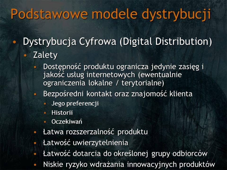 Podstawowe modele dystrybucji Dystrybucja Cyfrowa (Digital Distribution)Dystrybucja Cyfrowa (Digital Distribution) ZaletyZalety Dostępność produktu og