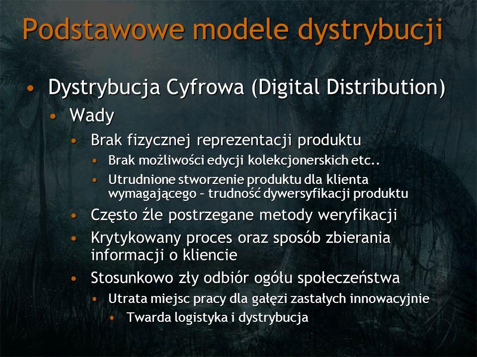 Podstawowe modele dystrybucji Typowe sposoby dystrybucjiTypowe sposoby dystrybucji Sprzedaż cyfrowa tytułów retailSprzedaż cyfrowa tytułów retail Wydania półkoweWydania półkowe Najczęściej produkty z wyższej półkiNajczęściej produkty z wyższej półki Również oferowane cyfrowo za mniejszą cenę oraz korzystające z zalet DDRównież oferowane cyfrowo za mniejszą cenę oraz korzystające z zalet DD Sprzedaż tytułów kierowanych na DDSprzedaż tytułów kierowanych na DD Zwykle celują w innego odbiorcę niż typowy retailZwykle celują w innego odbiorcę niż typowy retail Produkcja ukierunkowana na specyfikę danej platformy DDProdukcja ukierunkowana na specyfikę danej platformy DD