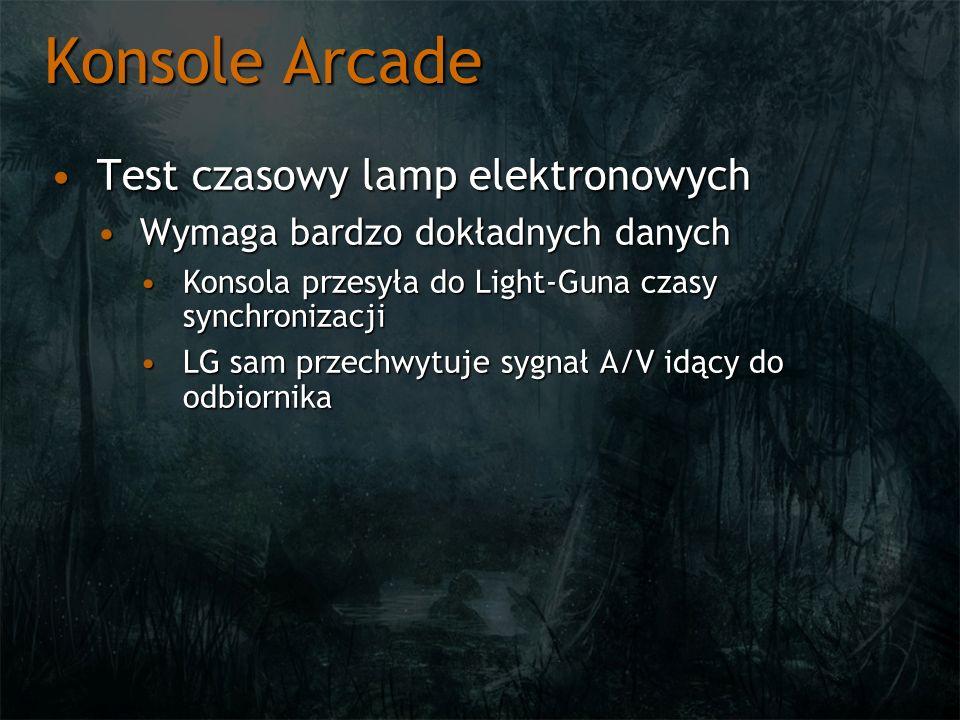 Konsole Arcade Test czasowy lamp elektronowychTest czasowy lamp elektronowych Wymaga bardzo dokładnych danychWymaga bardzo dokładnych danych Konsola p
