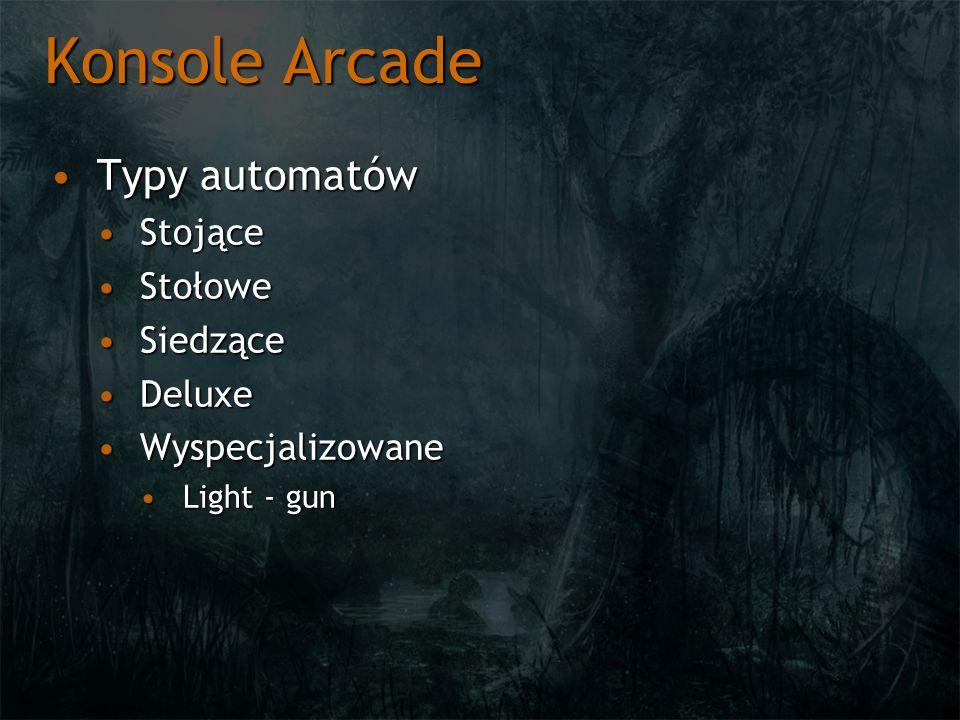 Konsole Arcade Typy automatówTypy automatów StojąceStojące StołoweStołowe SiedząceSiedzące DeluxeDeluxe WyspecjalizowaneWyspecjalizowane Light - gunLi
