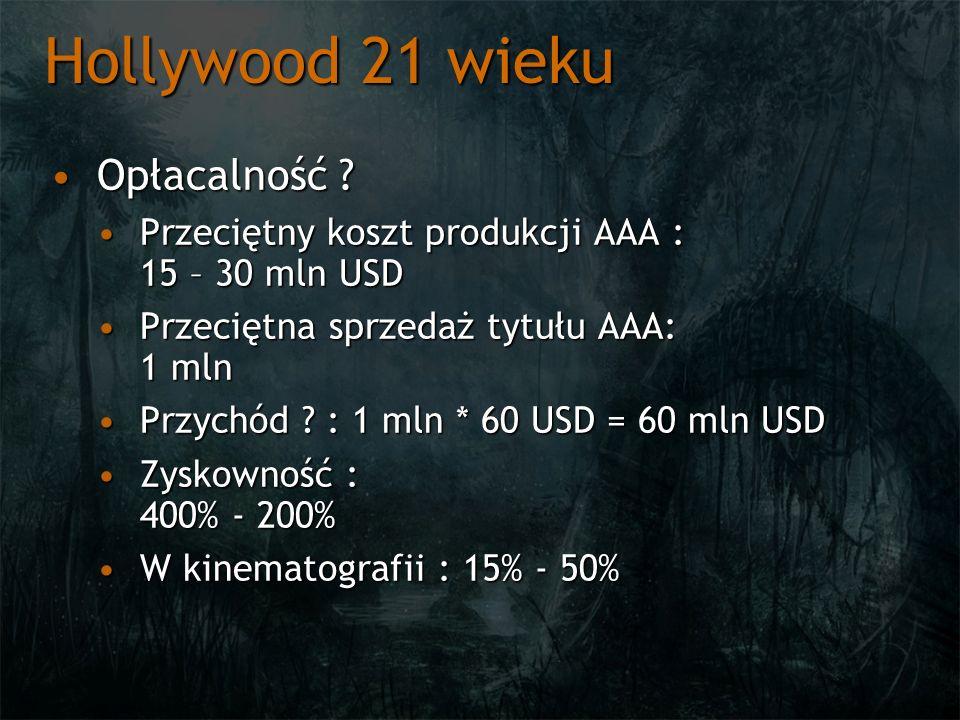 Hollywood 21 wieku Opłacalność ?Opłacalność ? Przeciętny koszt produkcji AAA : 15 – 30 mln USDPrzeciętny koszt produkcji AAA : 15 – 30 mln USD Przecię