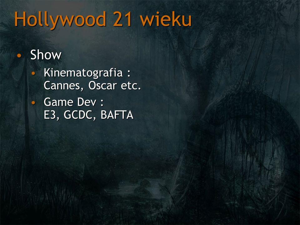 Hollywood 21 wieku ShowShow Kinematografia : Cannes, Oscar etc.Kinematografia : Cannes, Oscar etc. Game Dev : E3, GCDC, BAFTAGame Dev : E3, GCDC, BAFT