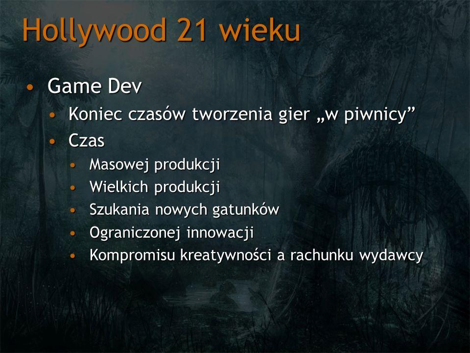 Hollywood 21 wieku Game DevGame Dev Koniec czasów tworzenia gier w piwnicyKoniec czasów tworzenia gier w piwnicy CzasCzas Masowej produkcjiMasowej pro