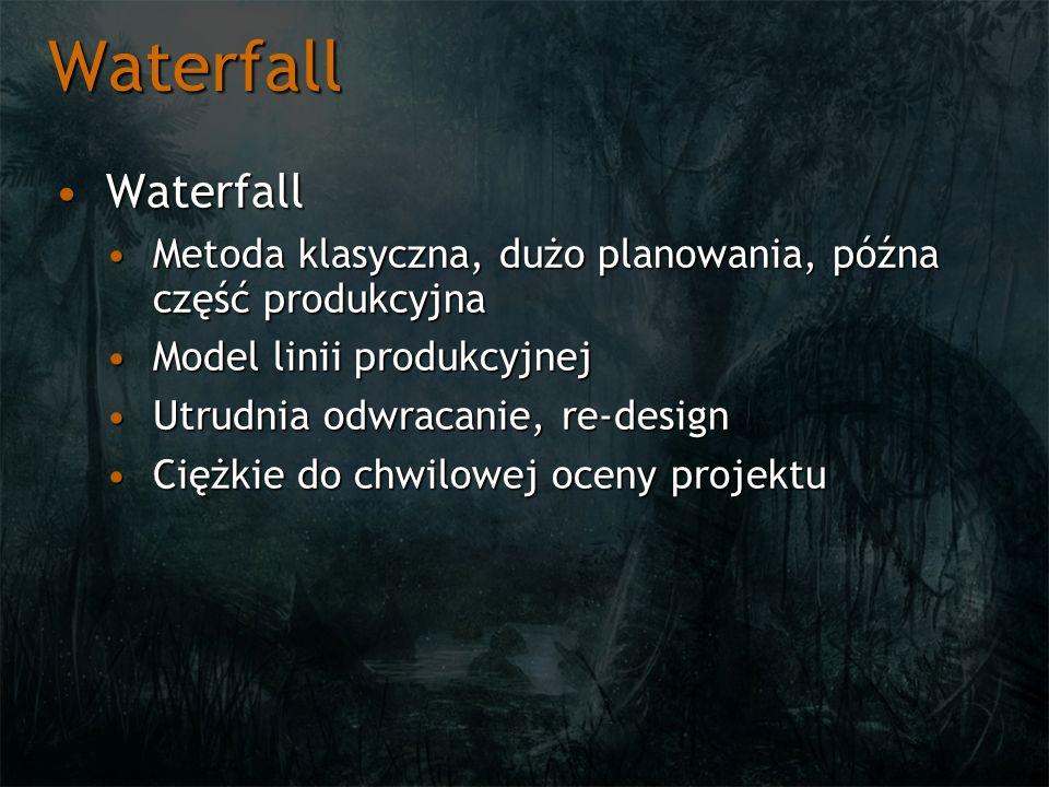 Waterfall WaterfallWaterfall Metoda klasyczna, dużo planowania, późna część produkcyjnaMetoda klasyczna, dużo planowania, późna część produkcyjna Mode