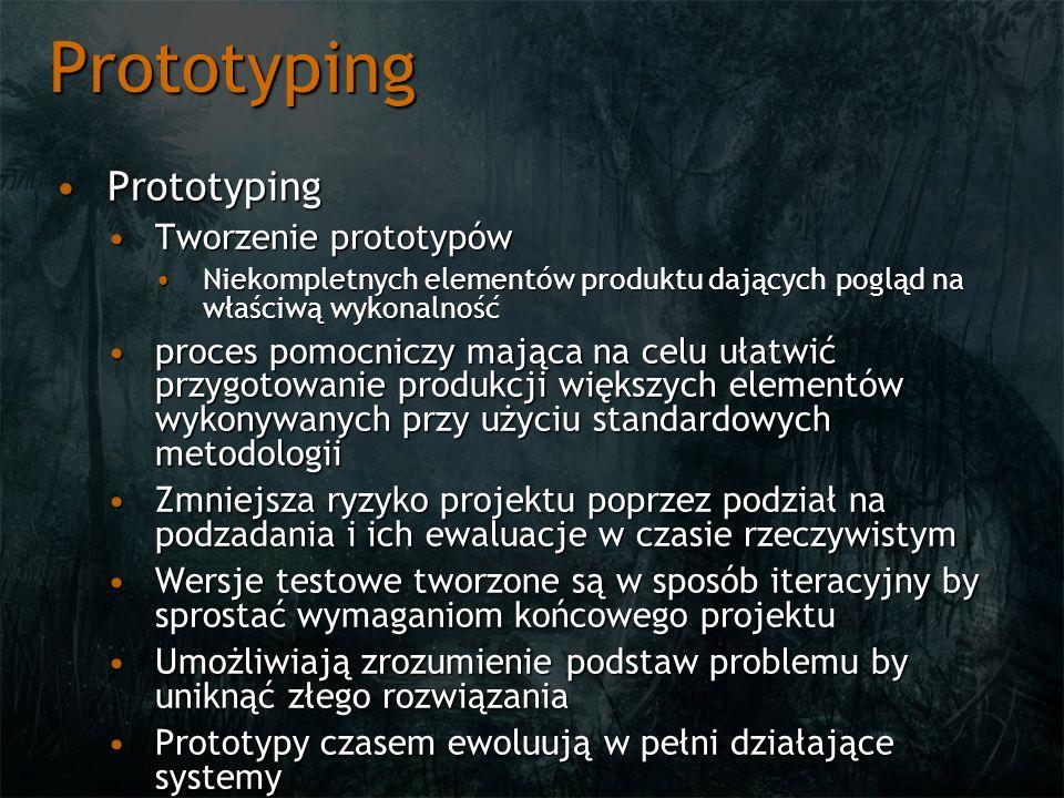Prototyping PrototypingPrototyping Tworzenie prototypówTworzenie prototypów Niekompletnych elementów produktu dających pogląd na właściwą wykonalnośćN
