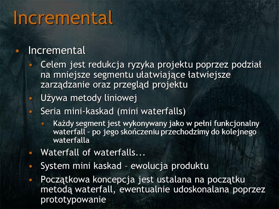 Incremental IncrementalIncremental Celem jest redukcja ryzyka projektu poprzez podział na mniejsze segmentu ułatwiające łatwiejsze zarządzanie oraz pr
