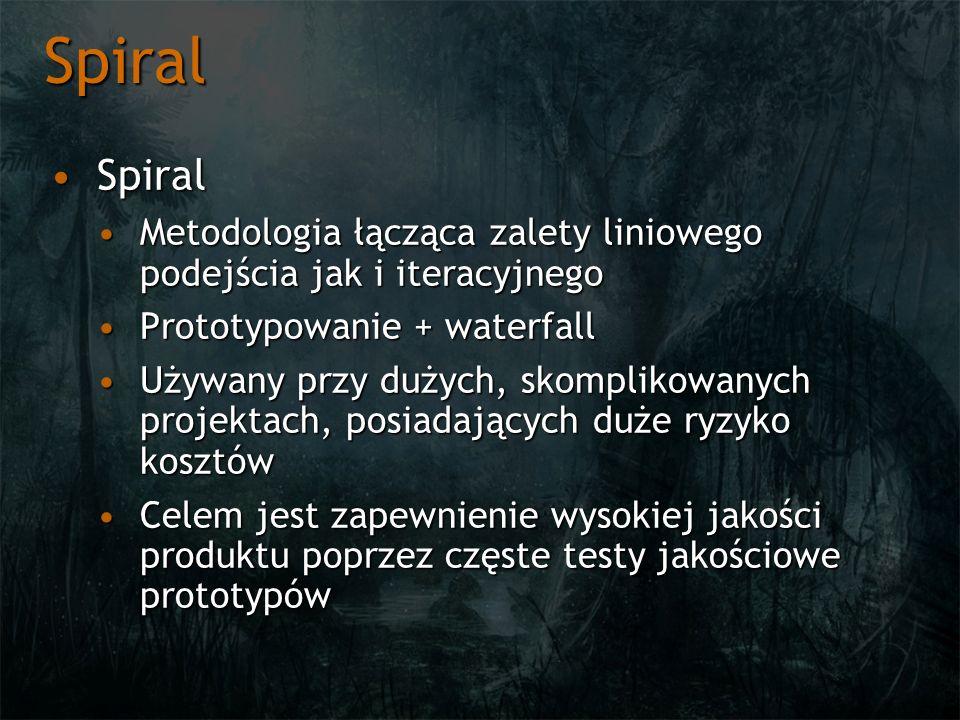 Spiral SpiralSpiral Metodologia łącząca zalety liniowego podejścia jak i iteracyjnegoMetodologia łącząca zalety liniowego podejścia jak i iteracyjnego