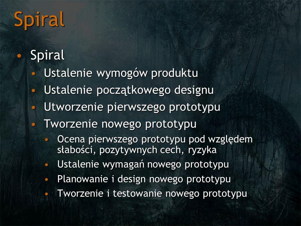 Spiral SpiralSpiral Ustalenie wymogów produktuUstalenie wymogów produktu Ustalenie początkowego designuUstalenie początkowego designu Utworzenie pierw