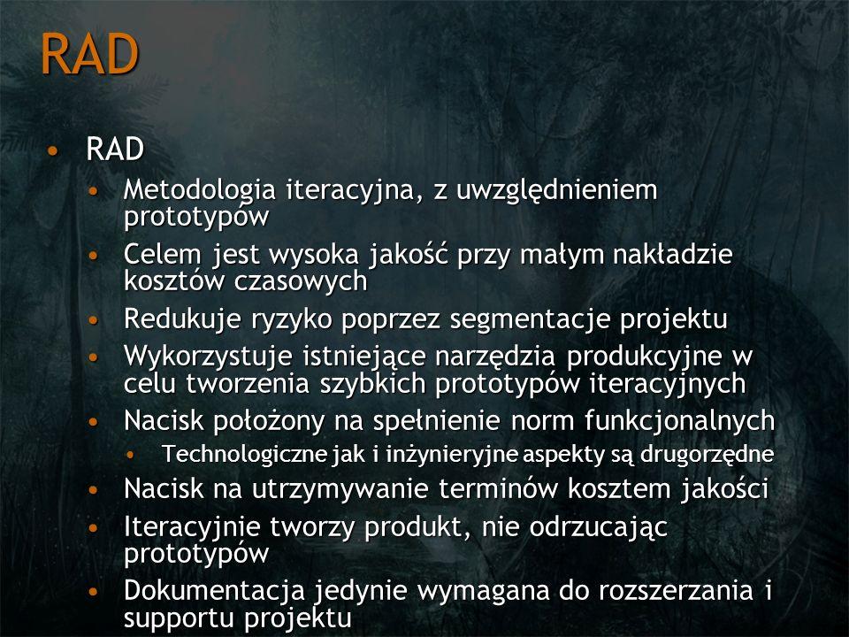RAD RADRAD Metodologia iteracyjna, z uwzględnieniem prototypówMetodologia iteracyjna, z uwzględnieniem prototypów Celem jest wysoka jakość przy małym