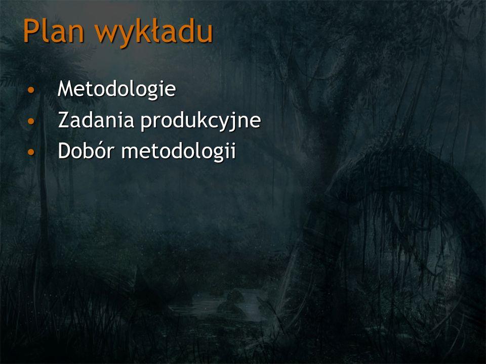 Plan wykładu MetodologieMetodologie Zadania produkcyjneZadania produkcyjne Dobór metodologiiDobór metodologii