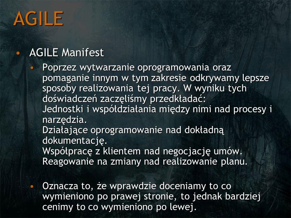 AGILE AGILE ManifestAGILE Manifest Poprzez wytwarzanie oprogramowania oraz pomaganie innym w tym zakresie odkrywamy lepsze sposoby realizowania tej pr