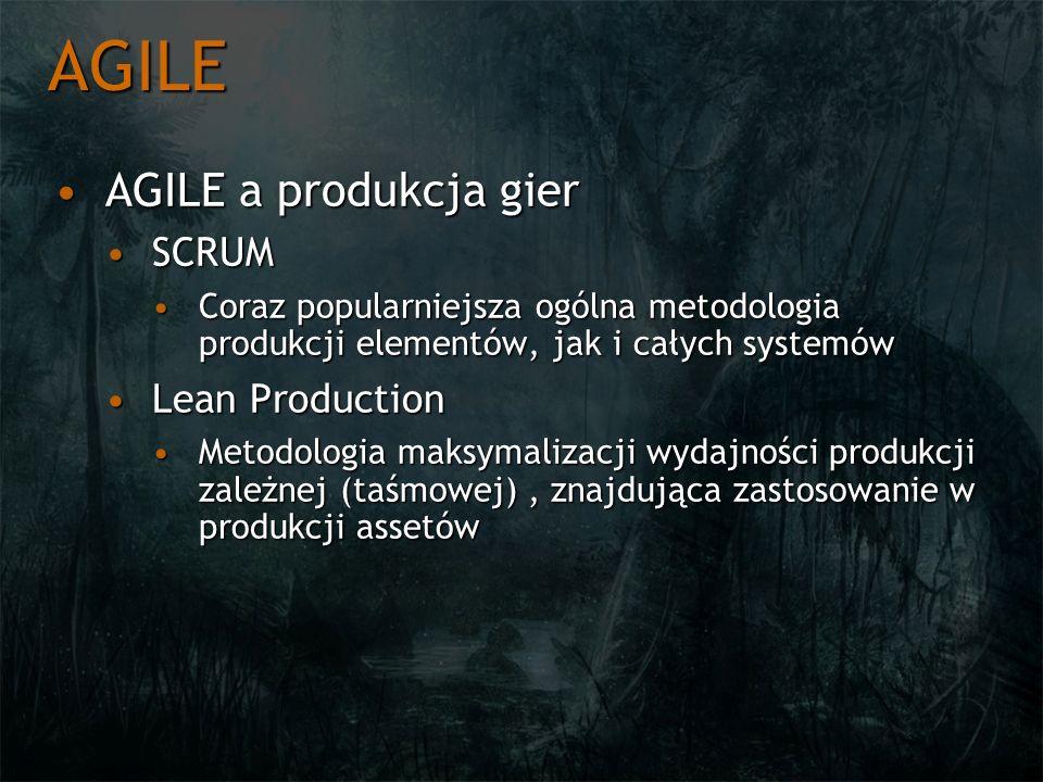 AGILE AGILE a produkcja gierAGILE a produkcja gier SCRUMSCRUM Coraz popularniejsza ogólna metodologia produkcji elementów, jak i całych systemówCoraz