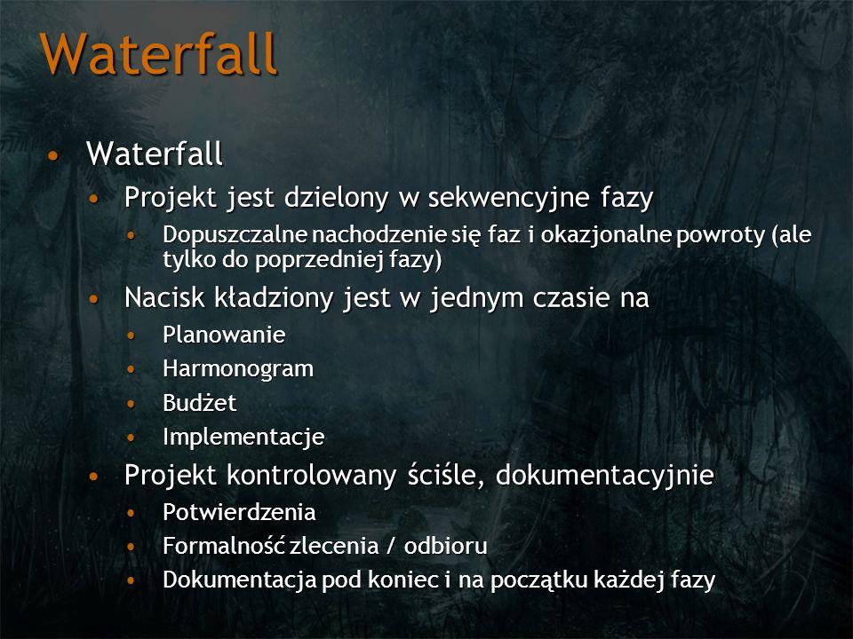 Waterfall WaterfallWaterfall Metoda klasyczna, dużo planowania, późna część produkcyjnaMetoda klasyczna, dużo planowania, późna część produkcyjna Model linii produkcyjnejModel linii produkcyjnej Utrudnia odwracanie, re-designUtrudnia odwracanie, re-design Ciężkie do chwilowej oceny projektuCiężkie do chwilowej oceny projektu