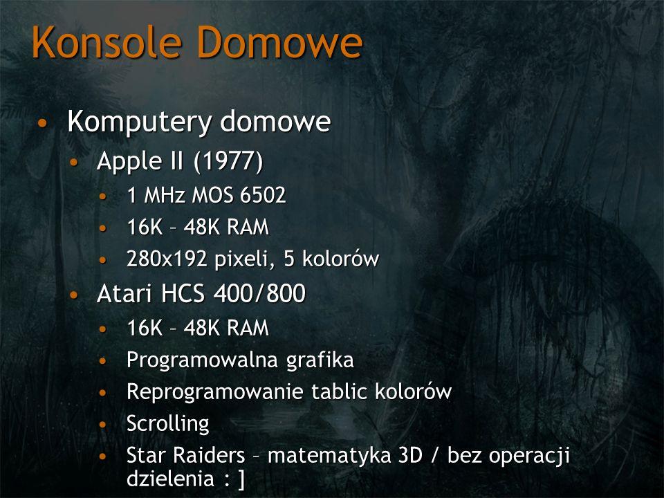 Konsole Domowe Komputery domoweKomputery domowe Apple II (1977)Apple II (1977) 1 MHz MOS 65021 MHz MOS 6502 16K – 48K RAM16K – 48K RAM 280x192 pixeli,