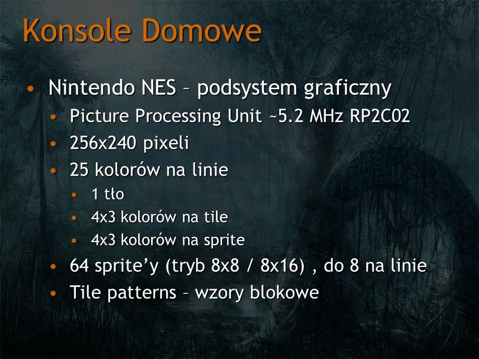 Konsole Domowe Nintendo NES – podsystem graficznyNintendo NES – podsystem graficzny Picture Processing Unit ~5.2 MHz RP2C02Picture Processing Unit ~5.