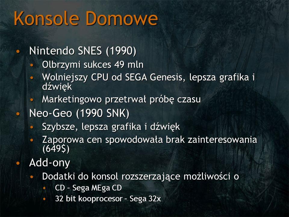 Konsole Domowe Nintendo SNES (1990)Nintendo SNES (1990) Olbrzymi sukces 49 mlnOlbrzymi sukces 49 mln Wolniejszy CPU od SEGA Genesis, lepsza grafika i