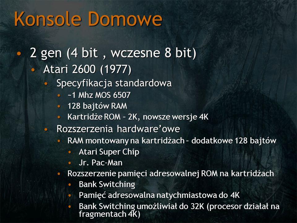 Konsole Domowe 2 gen (4 bit, wczesne 8 bit)2 gen (4 bit, wczesne 8 bit) Atari 2600 (1977)Atari 2600 (1977) Specyfikacja standardowaSpecyfikacja standa