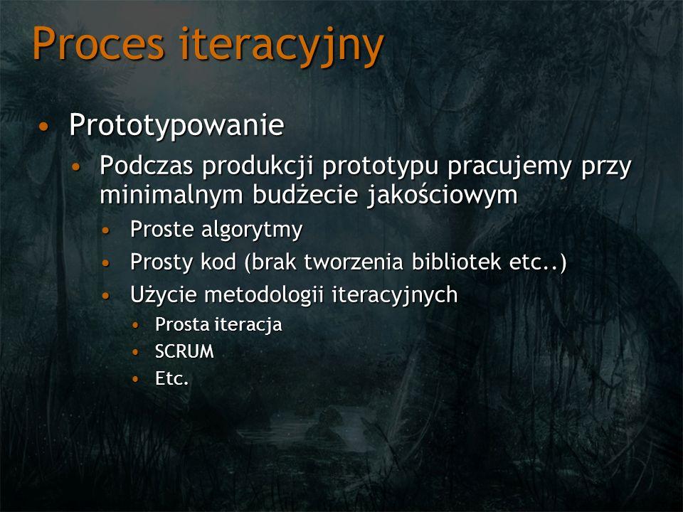 Proces iteracyjny PrototypowaniePrototypowanie Podczas produkcji prototypu pracujemy przy minimalnym budżecie jakościowymPodczas produkcji prototypu p