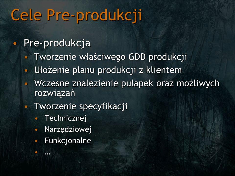 Cele Pre-produkcji Pre-produkcjaPre-produkcja Tworzenie właściwego GDD produkcjiTworzenie właściwego GDD produkcji Ułożenie planu produkcji z klientem