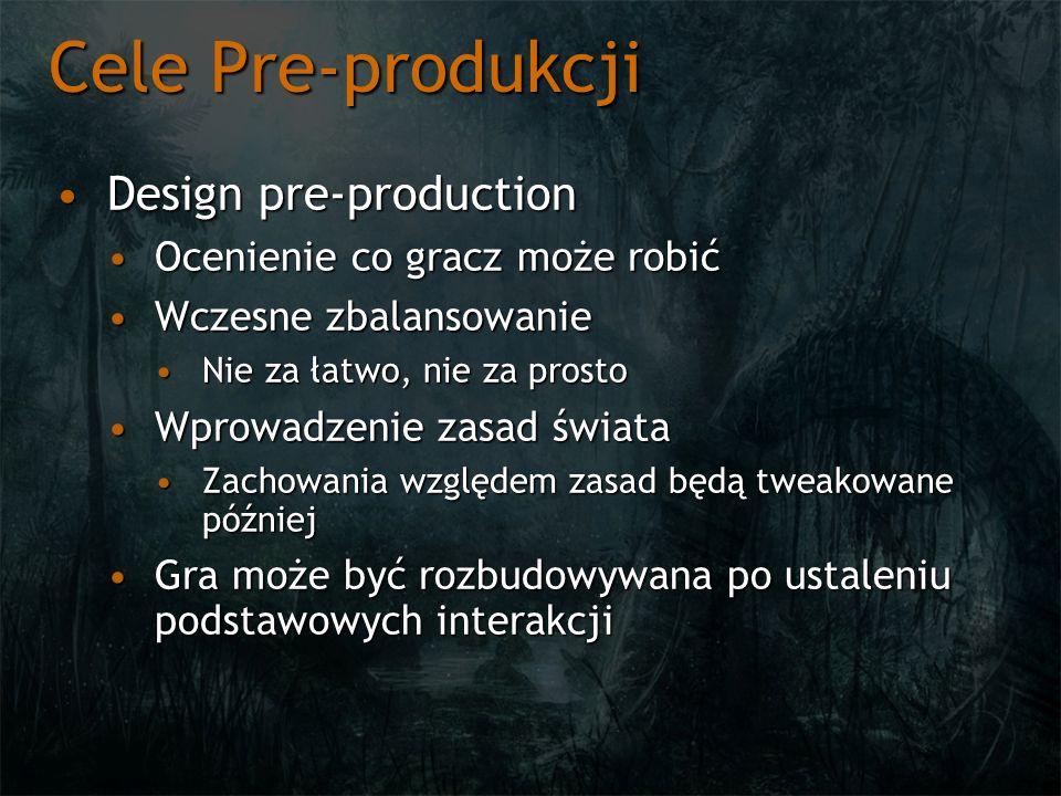 Cele Pre-produkcji Design pre-productionDesign pre-production Ocenienie co gracz może robićOcenienie co gracz może robić Wczesne zbalansowanieWczesne