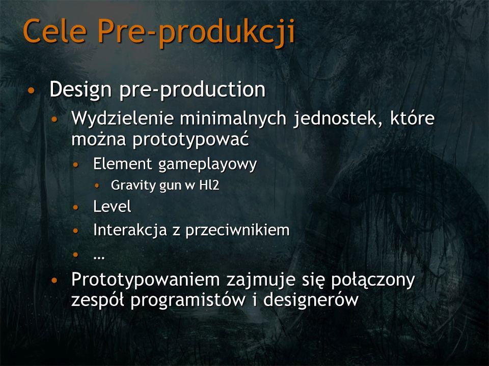 Cele Pre-produkcji Design pre-productionDesign pre-production Wydzielenie minimalnych jednostek, które można prototypowaćWydzielenie minimalnych jedno