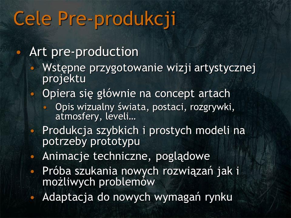Cele Pre-produkcji Art pre-productionArt pre-production Wstępne przygotowanie wizji artystycznej projektuWstępne przygotowanie wizji artystycznej proj