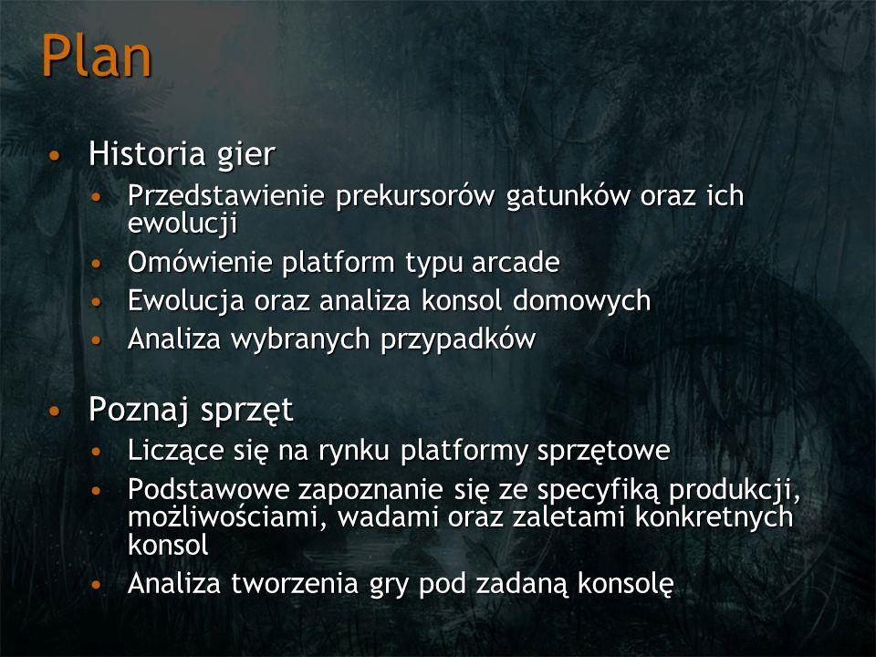 Plan Historia gierHistoria gier Przedstawienie prekursorów gatunków oraz ich ewolucjiPrzedstawienie prekursorów gatunków oraz ich ewolucji Omówienie p