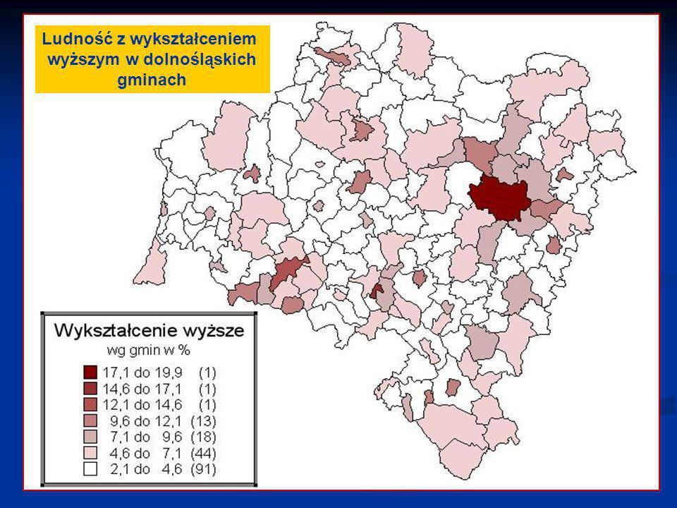 Ludność z wykształceniem wyższym w dolnośląskich gminach